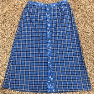 Lanz of Salsburg Blue Kerstin Plaid & Floral Skirt